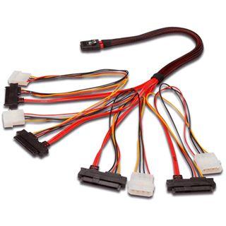 """0.50m Good Connections SAS 3Gb/s Anschlusskabel SFF-8087 Stecker auf 4xSFF-8482 + 5,25"""" Molex Strom Stecker Rot"""