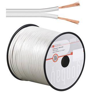 100.00m Good Connections Audio Lautsprecherkabel Standard ohne Stecker auf Weiß auf Spule/2x 2,5mm²