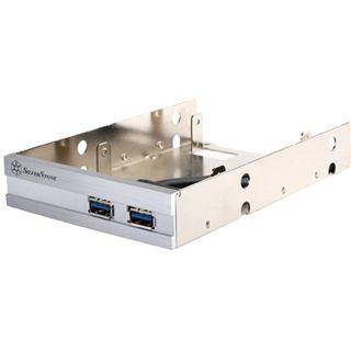 """Silverstone 2x USB 3.0 inkl. 2,5"""" Halterung silbernes Frontpanel für 3,5"""" (SST-FP36S)"""
