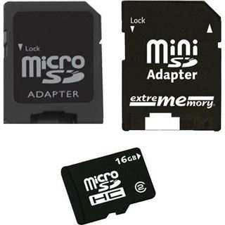 16 GB Extrememory Memory microSDHC Class 2 Retail inkl. Adapter