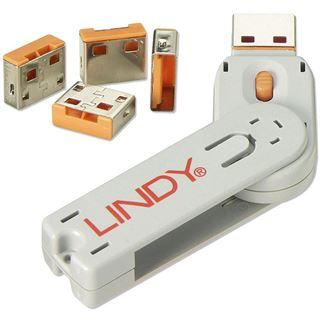 Lindy USB Port Schloss (4 Stück) mit Schlüssel: Orange