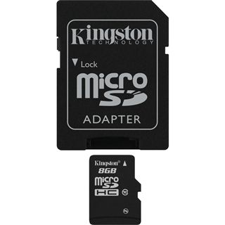8 GB Kingston Standard microSDHC Class 10 Retail inkl. Adapter