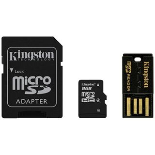 8 GB Kingston Multi Kit G2 microSDHC Class 4 Retail inkl. Adapter