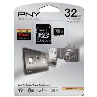 32 GB PNY Standard microSDHC Class 10 Bulk inkl. Adapter