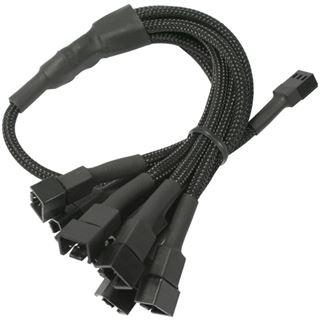 Nanoxia 60 cm schwarzes Adapterkabel für 3-Pin Molex zu 6x 3-Pin (NX36A60)