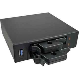 """InLine 2x 2,5"""" SATA Slot + USB 3.0 schwarz Front Panel für 5,25"""" (33394B)"""