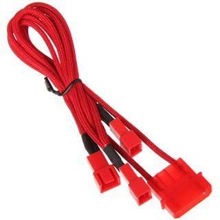 BitFenix Molex zu 3x 3-Pin 7V Adapter 20cm - sleeved red/red