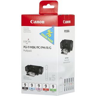 Canon Tinte PGI-9MBK/PC/PM/R/G 1033B013 schwarz matt, cyan photo, magenta photo, rot, gruen