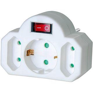 Brennenstuhl Steckdosenadapter mit Schalter auf Weiß Kindersicherung