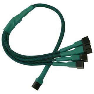 Nanoxia 30 cm grünes Adapterkabel für 3-Pin Molex zu 4x 3-Pin (NX34A30G)