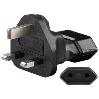 Good Connections Stromadapter Stecker England auf 2pin Buchse (gerade) Schwarz
