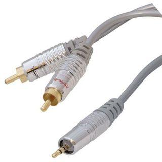 5.00m ShiverPeaks Audio Anschlusskabel 2xCinch Stecker auf 3.5mm Klinke Stecker Stereo Silber vergoldet
