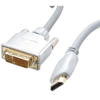 2.00m ShiverPeaks Video Anschlusskabel 19pol HDMI Stecker auf DVI 24+1 Stecker Weiß vergoldet