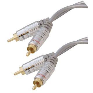 2.50m ShiverPeaks Audio Anschlusskabel 2xCinch Stecker auf 2xCinch Stecker Schwarz/Silber vergoldet