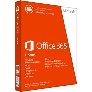 Microsoft Office 365 Home Premium 32/64 Bit Deutsch 5 User PC (PKC)