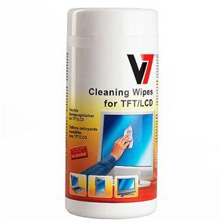 (€0,07*/1L) V7 Laptop/Netbook/Tablet/Monitore/portable Geräte Reinigungstuch 100 Stück Spenderdose (VCL1513)