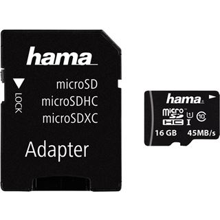 16 GB Hama UHS-I Mobile microSDHC Class 10 Retail inkl. Adapter