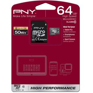 64 GB PNY Performance microSD Class 10 Retail inkl. Adapter