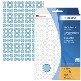 Herma 2213 blau rund Vielzwecketiketten 0.8x0.8 cm (32 Blatt (5632 Etiketten))