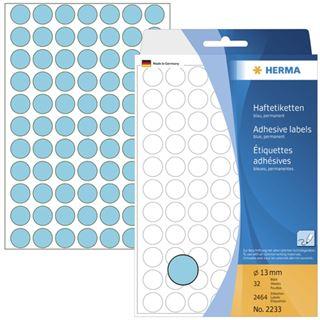 Herma 2233 blau rund Vielzwecketiketten 1.3x1.3 cm (32 Blatt (2464 Etiketten))