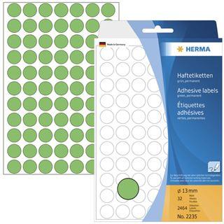 Herma 2235 gruen rund Vielzwecketiketten 1.3x1.3 cm (32 Blatt (2464 Etiketten))