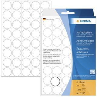 Herma 2250 rund Vielzwecketiketten 1.9x1.9 cm (32 Blatt (1280 Etiketten))
