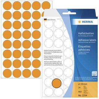 Herma 2254 leuchtorange Vielzwecketiketten 1.9x1.9 cm (24 Blatt (960 Etiketten))