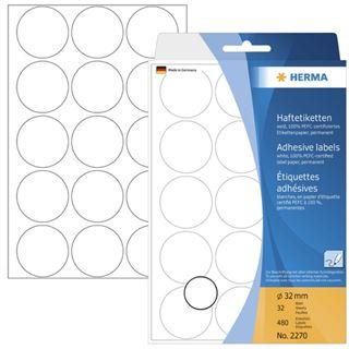 Herma 2270 rund Vielzwecketiketten 3.2x3.2 cm (32 Blatt (480 Etiketten))