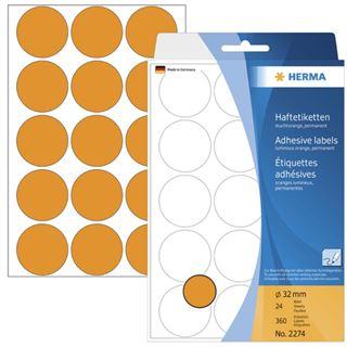 Herma 2274 leuchtorange Vielzwecketiketten 3.2x3.2 cm (24 Blatt (360 Etiketten))