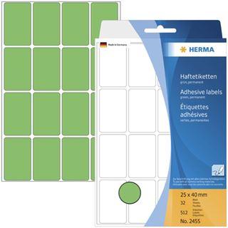 Herma 2455 gruen Vielzwecketiketten 2.5x4 cm (32 Blatt (512 Etiketten))