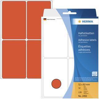Herma 2492 rot Vielzwecketiketten 5.2x8.2 cm (32 Blatt (128 Etiketten))