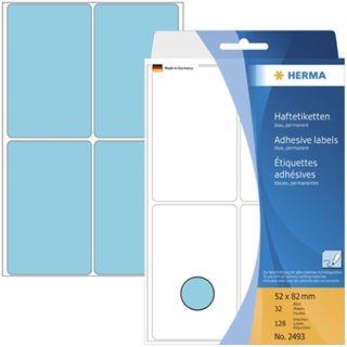Herma 2493 blau Vielzwecketiketten 5.2x8.2 cm (32 Blatt (128 Etiketten))