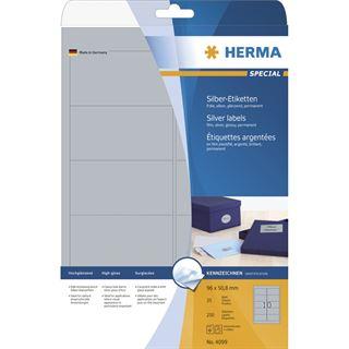 Herma 4099 silber Universal-Etiketten 9.6x5.08 cm (25 Blatt ( 250 Etiketten))
