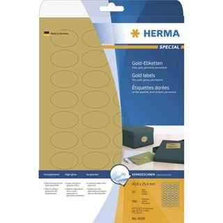 Herma 4109 gold oval Folie Universal-Etiketten 4.6x2.54 cm (25 Blatt (900 Etiketten))