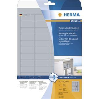 Herma 4221 silber extrem stark haftend Typenschild-Etiketten 4.57x2.12 cm (25 Blatt (1200 Etiketten))