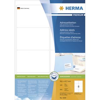 Herma 4269 Premium Adressetiketten 9.91x6.7 cm (100 Blatt (800 Etiketten))