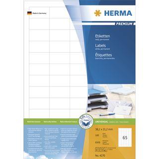 Herma 4270 Premium Universal-Etiketten 3.81x2.12 cm (100 Blatt (6500 Etiketten))