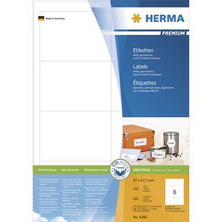 Herma 4280 Premium Universal-Etiketten 9.7x6.77 cm (100 Blatt (800 Etiketten))