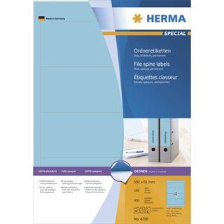 Herma 4298 blau Ordneretiketten 19.2x6.1 cm (100 Blatt (400 Etiketten))