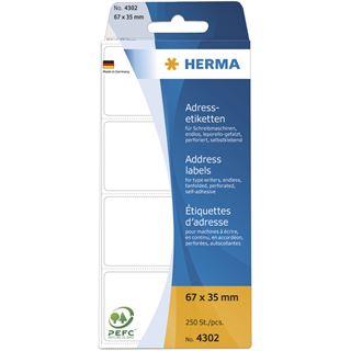 Herma 4302 endlos Adressetiketten für Schreibmaschinen 6.7x3.5 cm (250 Stück)