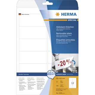 Herma 4348 ablösbar Universal-Etiketten 9.6x4.23 cm (25 Blatt (300 Etiketten))