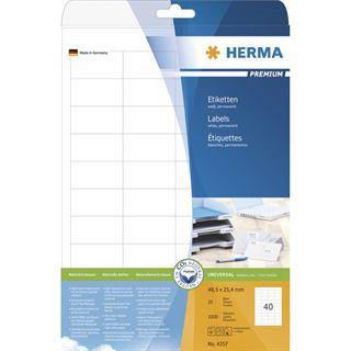 Herma 4357 Premium Universal-Etiketten 4.85x2.54 cm (25 Blatt (1000 Etiketten))