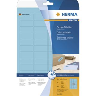 Herma 4368 blau Universal-Etiketten 4.57x2.12 cm (20 Blatt (960 Etiketten))
