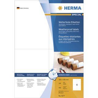 Herma 4377 wetterfest Universal-Etiketten 10.5x14.8 cm (100 Blatt (400 Etiketten))