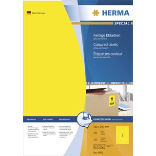 Herma 4401 gelb Universal-Etiketten 21.0x29.7 cm (100 Blatt (100 Etiketten))
