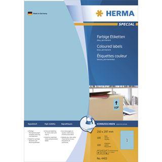 Herma 4403 blau Universal-Etiketten 21.0x29.7 cm (100 Blatt (100 Etiketten))