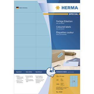 Herma 4408 blau Universal-Etiketten 7.0x3.7 cm (100 Blatt (2400 Etiketten))