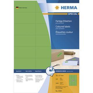 Herma 4409 grün Universal-Etiketten 7.0x3.7 cm (100 Blatt (2400 Etiketten))