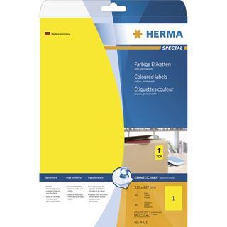 Herma 4421 gelb Universal-Etiketten 21.0x29.7 cm (20 Blatt (20 Etiketten))