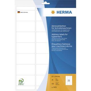 Herma 4431 Adressetiketten für Schreibmaschinen 6.7x3.8 cm (20 Blatt ( 420 Etiketten))